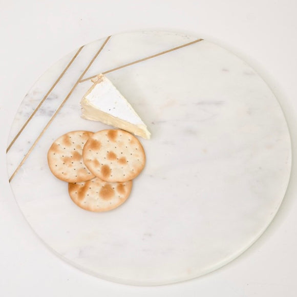 Marble & Gold Inlay Round Cheese Board