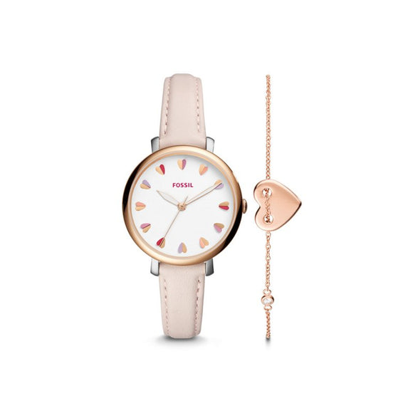 Jaqueline Pastel Pink Leather Watch & Jewelry Set