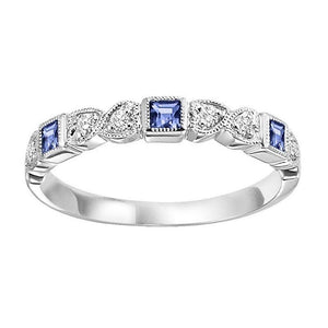Diamond & Sapphire Stackable Band