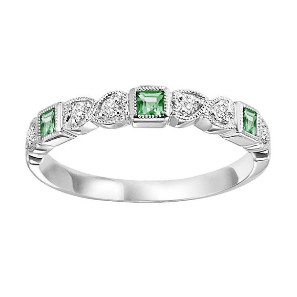 Diamond & Emerald Stackable Band