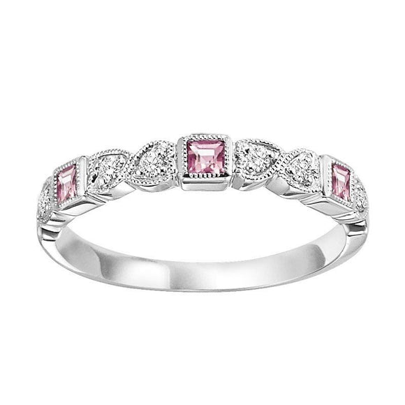 Diamond & Pink Sapphire Stackable Band