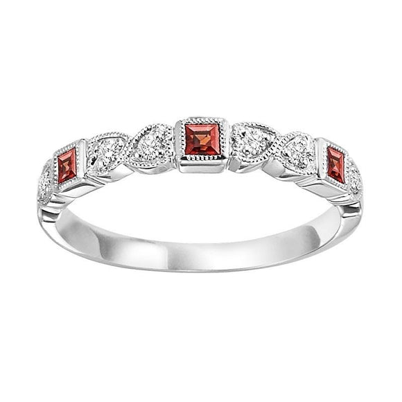 Diamond & Garnet Stackable Band