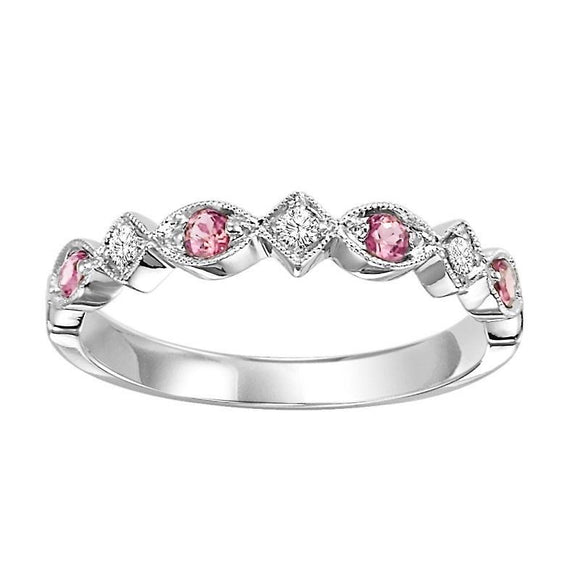 Diamond & Pink Topaz Stackable Band