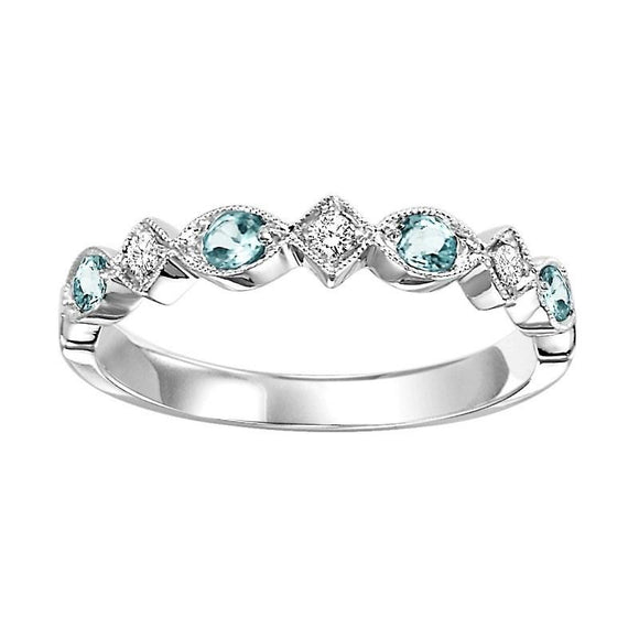 Diamond & Blue Topaz Stackable Band