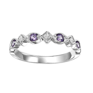 Diamond & Amethyst Stackable Band