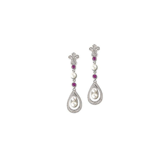 Sterling Silver Pink Sapphire & Diamond Pearl Earrings