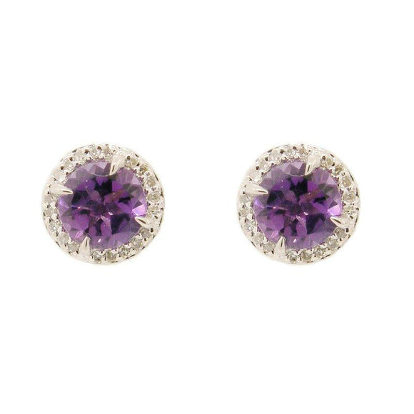 Sterling Silver Amethyst & Diamond Stud Earrings