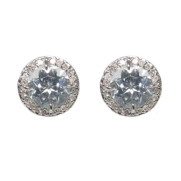 Sterling Silver Aquamarine & Diamond Stud Earrings