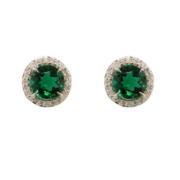Sterling Silver Emerald & Diamond Stud Earrings