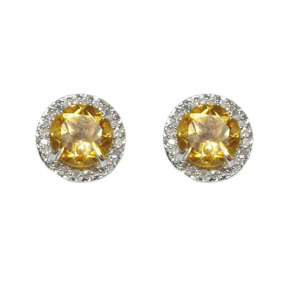Sterling Silver Citrine & Diamond Stud Earrings