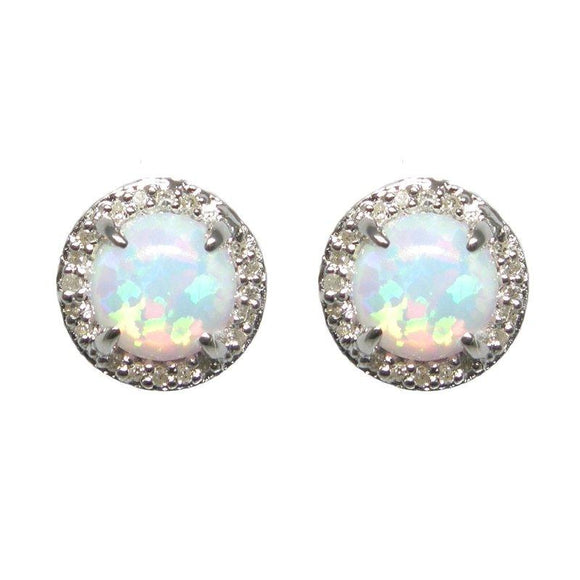 Sterling Silver Opal & Diamond Stud Earrings