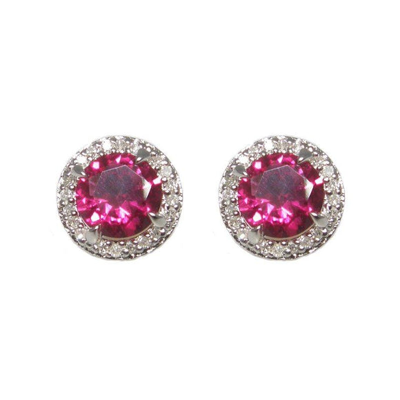 Sterling Silver Ruby & Diamond Stud Earrings