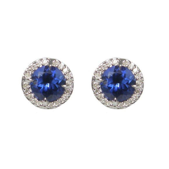 Sterling Silver Sapphire & Diamond Stud Earrings