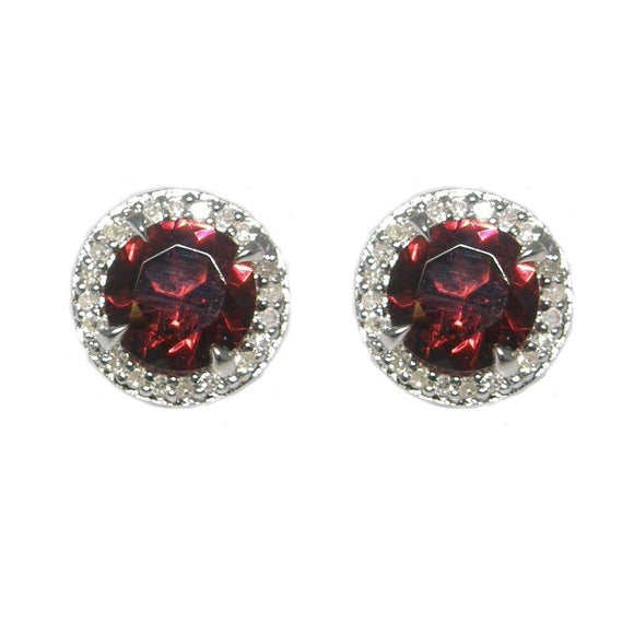 Sterling Silver Garnet & Diamond Stud Earrings