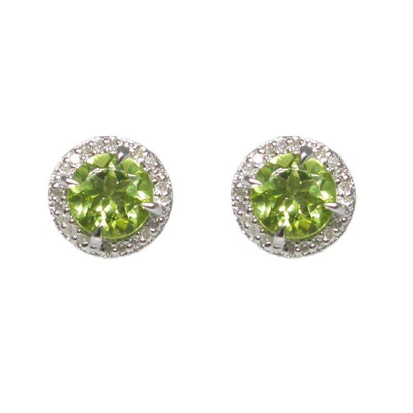 Sterling Silver Peridot & Diamond Stud Earrings