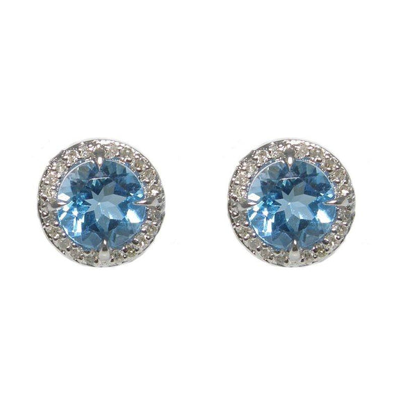 Sterling Silver Blue Topaz & Diamond Stud Earrings