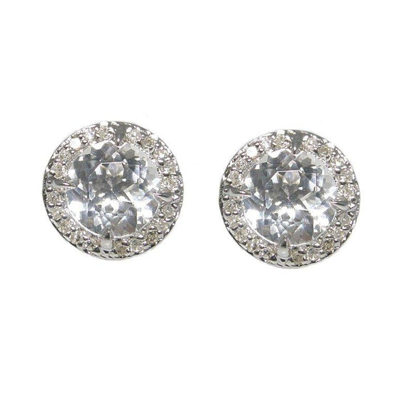 Sterling Silver White Topaz & Diamond Stud Earrings
