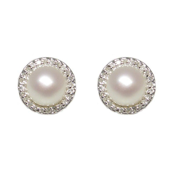 Sterling Silver Pearl & Diamond Stud Earrings