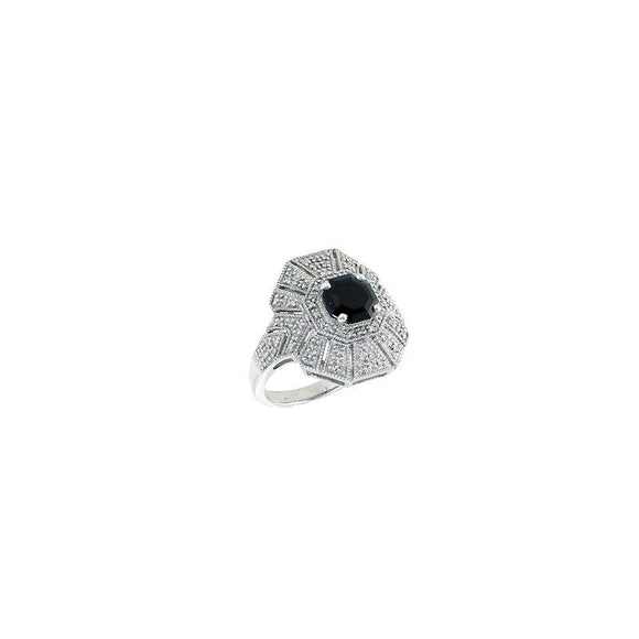 Sterling Silver Vintage Diamond & Black Sapphire Ring