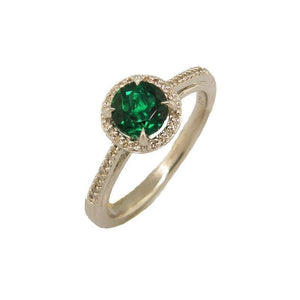 Sterling Silver Emerald & Diamond Ring