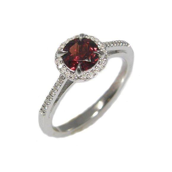 Sterling Silver Garnet & Diamond Ring