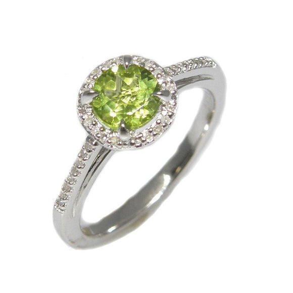 Sterling Silver Peridot & Diamond Ring