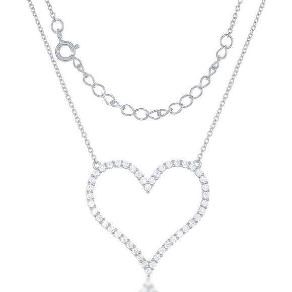 Sterling Silver Large Open CZ Heart Necklace