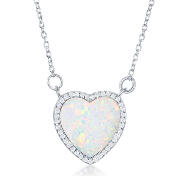 Sterling Silver White Inlay Opal Heart with CZ Border Necklace