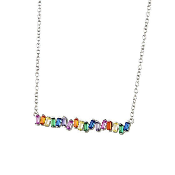 Sterling Rainbow CZ Baguette Bar Necklace