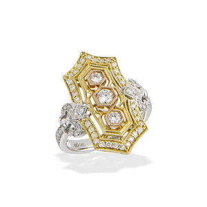 14K 3-Tone Diamond Vintage Style Ring