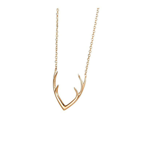 14K Rose Gold Antler Necklace