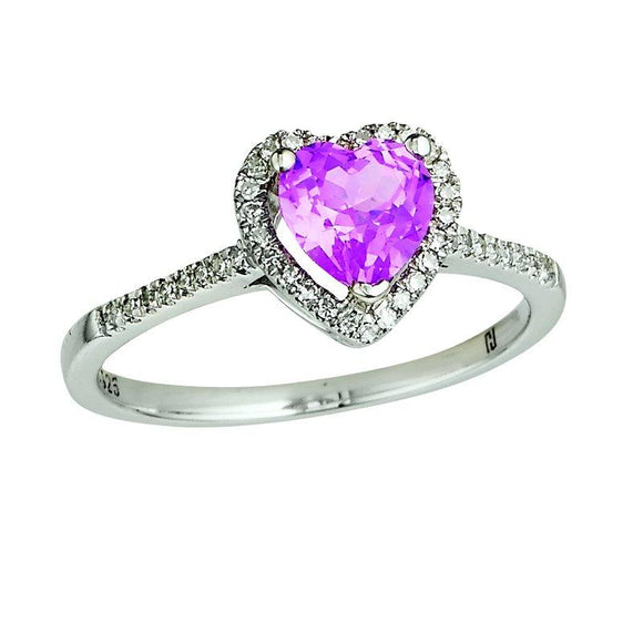 Diamond and Sapphire Heart Ring