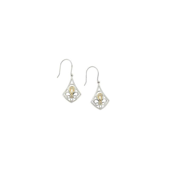Sterling Silver & 14K Gold Diamond Fleur de lis Earrings