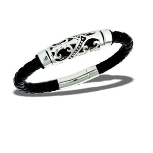 Fleur de Lis Leather Men's Bracelet