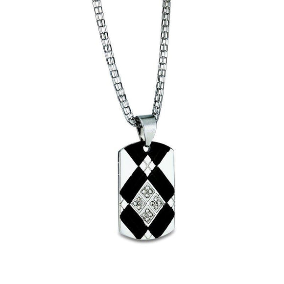 Stainless CZ Dog Tag Pendant