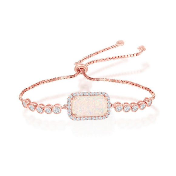 Sterling & Rose Gold Plated Opal & CZ Bracelet