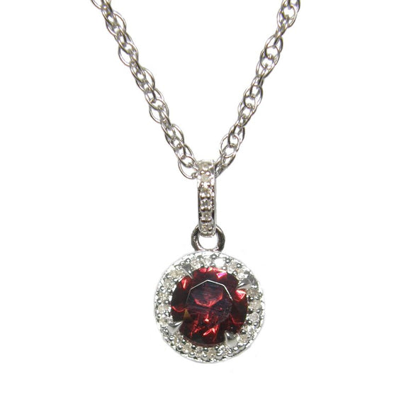 Sterling Silver Garnet & Diamond Pendant