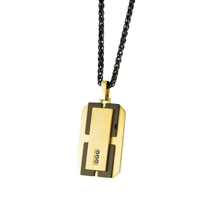 Gold-Tone & Black Dog Tag Necklace