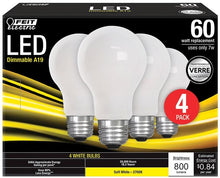 Load image into Gallery viewer, FEIT Electric A19 E26 (Medium) LED Bulb Soft White 60 watt Watt Equivalence 4 pk