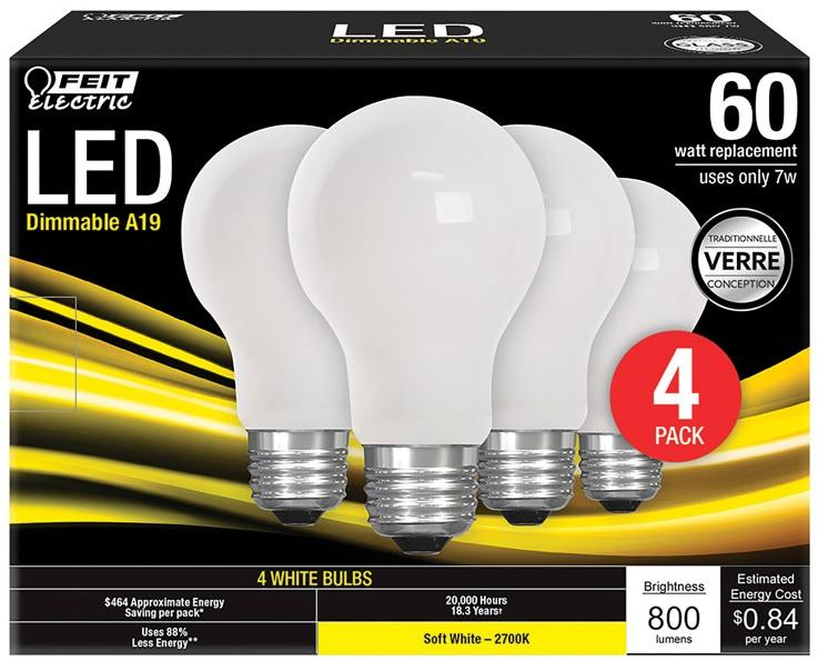 FEIT Electric A19 E26 (Medium) LED Bulb Soft White 60 watt Watt Equivalence 4 pk