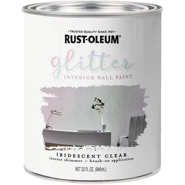 Rust-Oleum Specialty Flat Iridescent Clear Water-Based Glitter Interior Wall Paint Indoor 1 q