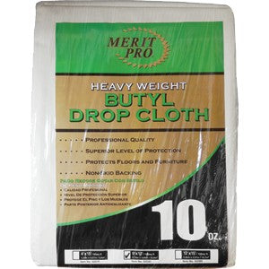 Merit Pro 02080 9' x 12' (2.74m x 3.66m) 10 oz. Heavy Weight Butyl Drop Cloth