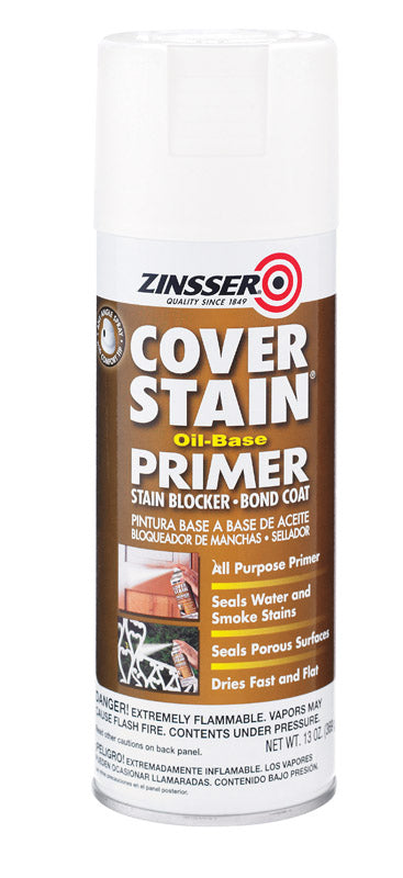 Zinsser Cover Stain White Flat Oil-Based Alkyd Primer/Sealer Spray 13 oz.