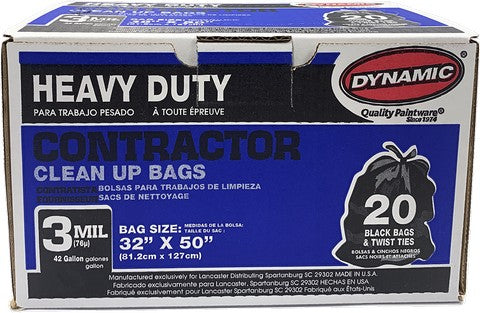 Dynamic 00700 42 Gal 3mil Black Heavy Duty Contractor Trash Bag 20Ct