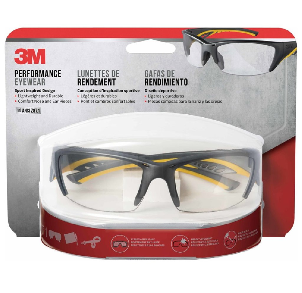 3M Anti-Fog Impact-Resistant Safety Glasses Clear Lens Gray/Yellow Frame 1 pc.