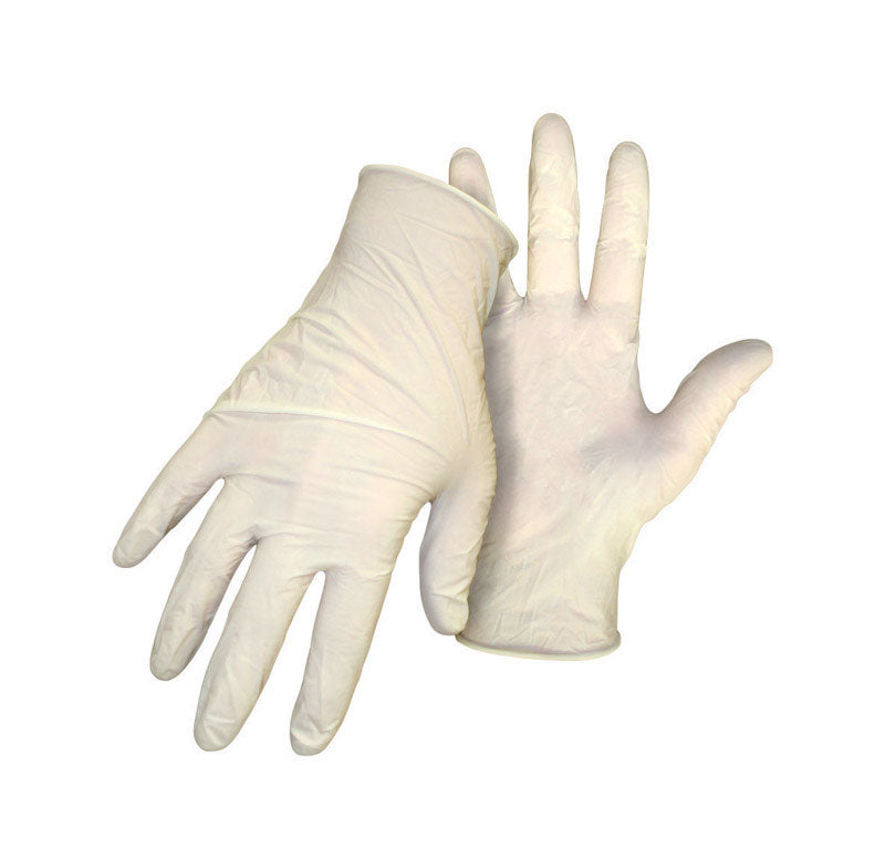 Boss Latex Disposable Gloves One Size Fits Most White 10 pk