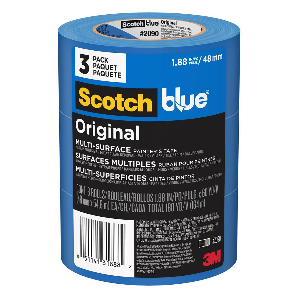 3M Scotch Painters Masking Tape, 2 inch x 60 yards, 3 inch Core, Blue, 3/Pack