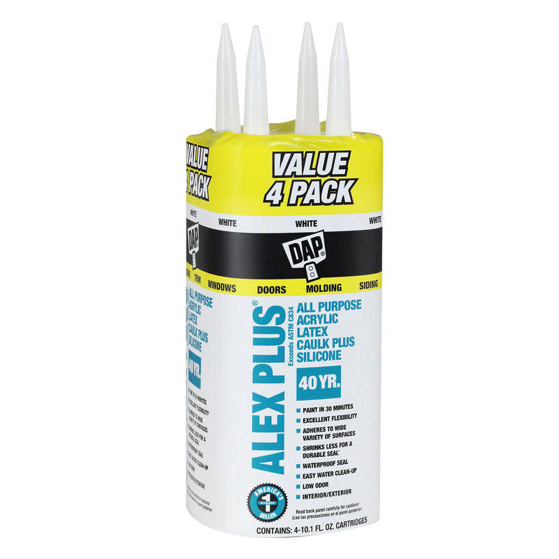DAP Alex Plus White Acrylic Latex All Purpose Caulk 10.1 oz. 4 Pk