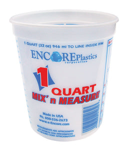 Encore Mix' n Measure White 1 qt. Plastic Paint Pail