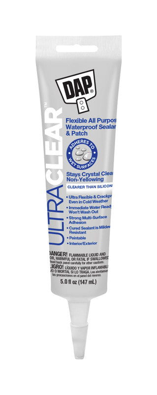 DAP Ultra Clear Clear Synthetic Rubber All Purpose Waterproof Sealant 5 oz.